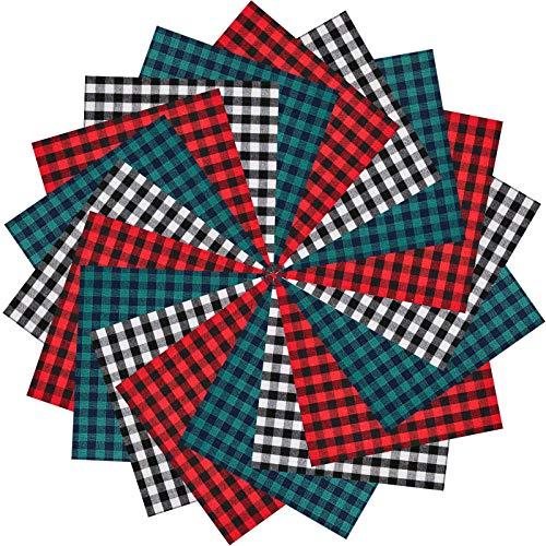 60 Pièces 10 x 10 Pouces Tissu à Carreaux Tissu de Noël à Carreaux Buffalo en Coton Tissu à Carreaux Tissu à Carreaux Buffalo Vichy Carrés, pour Couture DIY Artisanat Maison, 3 Couleurs