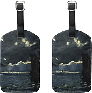 WIHVE Set of 2 Luggage Tags Under The Moonlight Claude Monet Art Reproduction Suitcase Labels Travel Accessories
