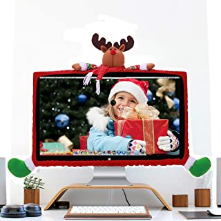 DotPet Christmas Computer Monitor Cover, Laptop Display Dustproof Cover Decorative Monitor Screen Protector for Computer Min TV Xmas New Year Home Office Decor (David's Deer)