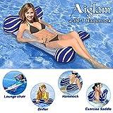 Aiglam Hamaca Flotante para Piscina Tumbona de Piscina Hamaca Flotante Balsas Inflables Sofá de Aire para Piscina Silla Flotante Cama Drifter, Flotador de Playa para Adultos (Azul Oscuro)