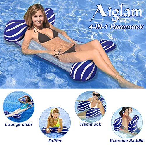Aiglam Wasser Hängematte Pool Liege Float Hängematte Schlauchboote Schwimmbad Luft Sofa Schwimmstuhl Bett Drifter Swimmingpool Beach Float für Erwachsene (Dunkelblau)