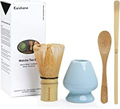 KAISHANE Matcha Whisk Set Bamboo Matcha Tea Set of 4 Including 100 Prong Matcha Whisk (Chasen), Traditional Scoop (Chashaku), Tea Spoon, Matcha Whisk Holder Blue Color