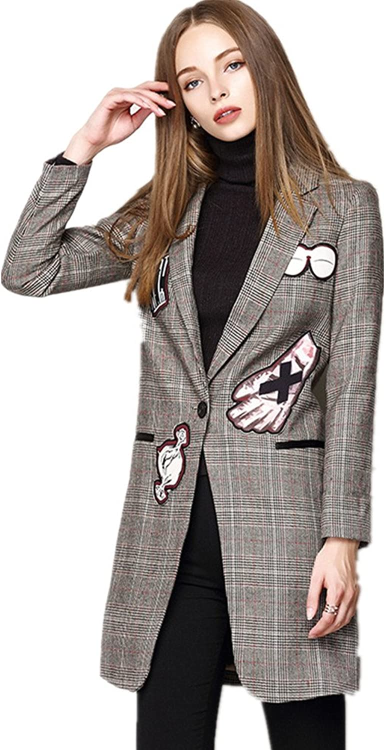Bobbycool Womens Plaid Wool Coat Embroidered Suit Collar Wool Coat