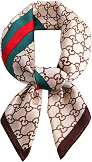 Silk Feeling Scarf Women's Medium Square Satin Hair Scarf 27.5 x 27.5 inches