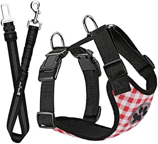 SlowTon Dog Car Harness Plus Connector Strap, Multifunction Adjustable Vest Harness Double Breathable Mesh Fabric with Car...
