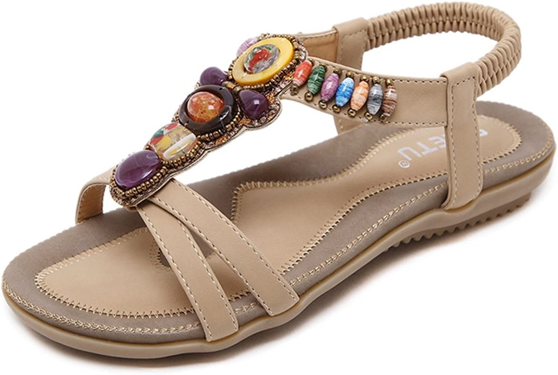 AVENBER Women Girl Flat Sandals Rhinestone Bohemian Fringe Beads Fancy Ankle Strap Slingback Dress shoes