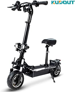 KUDOUT Electric Scooters, Adult 2400W Motor Max Speed 75km/h Double Drive 10.5 inch Off-Road CST Tire Folding Commuting Scooter 48V 24Ah Battery with Seat and Multicolor LED Side-bar