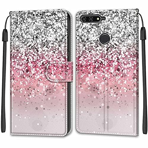 YKTO Cover per Huawei Y6 2018/Honor 7A Flip Wallet Case PU Pelle con Carte Slot Credito Portafoglio Supporto Stand Schema Custodia Flexible Case Back Wallet Purse Flip Cover,Glitter Argento