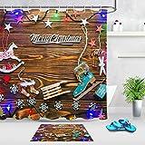 vrupi Decoración navideña Linterna patrón baño Set Tela Impermeable Cortina Gancho 71 * 71 Pulgadas Cortina + 15.7 * 23.6 Pulgadas combinación tapete baño decoración Creativa para hogar