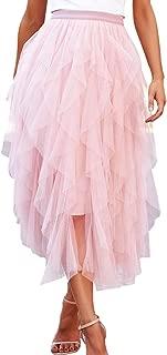 Women Tulle Skirt Formal Asymmetrical Layered A Line Midi Tea-Length Tutu Mesh Skirts Casual Petticoat