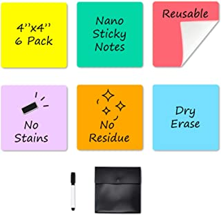 """Dry Erase Sticky Notes - 6 Colors Reusable Whiteboard Stickers 4""""x4"""" - 6 Pack. Suitable for All Smooth Surface. No Paper P..."""