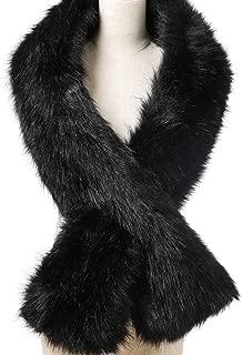 Womens Winter Long Faux Fur Scarf Collar Shawl Stole 1920s Shawl Collar Dress