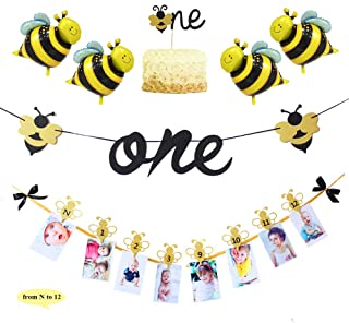 Bumble Bee Themed Baby First Birthday Party Decorations Kit-12Months Photo Banner Glitter Highchair Flags Mini Foil Balloon One Cake topper for 1st Birthday Party Supplies