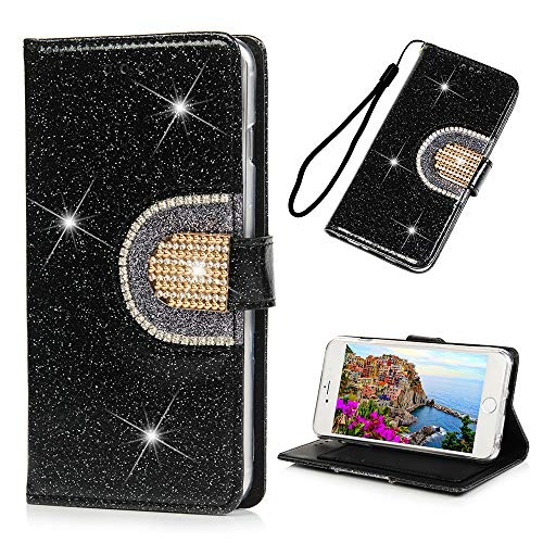 iPhone 6S Plus Case Glitter Diamonds Closure Inset Mirror Wallet Case PU Leather Magnetic Flip Cover Shock Resistant Soft TPU Protective Bumper Card Slots Kickstand Lanyard for iPhone 6 Plus Black