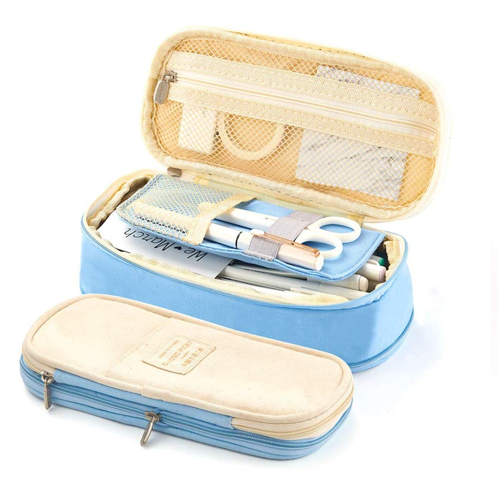 Estuche de lápices de gran capacidad Bolígrafo de lona plegable Estuche de bolsa de cosméticos Organizador de caja para arte escolar de oficina (Azul): Amazon.es: Oficina y papelería