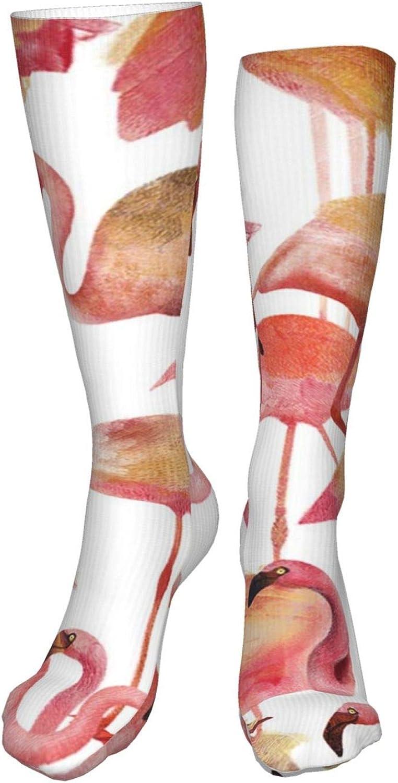 Flamingo Pink Women Premium High Socks, Stocking High Leg Warmer Sockings Crew Sock For Daily And Work