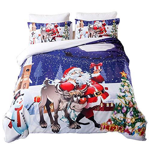 Oldbiao set di biancheria da letto natalizio, copripiumino 200x200 cm + federa 50x75 cm, per letto matrimoniale, con rivestimento per la neve, da uomo e da donna