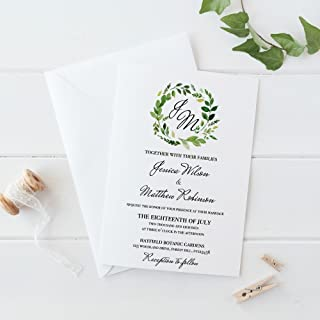 Greenery Wedding Invitations, Rustic Wedding Invitation Suite, Set of 10