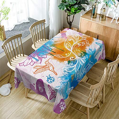 BWBJJ Rectangular Manteles Flores y colibríes , 3D impresión Impermeable Manteles, Mantelerias Antimanchas Lavable, Decoracion Mantel de Mesa, para Cocina Salón Comedor 90x90 cm