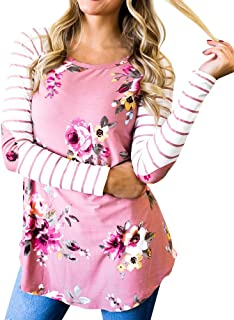 Women's Raglan Shirt Striped Long Sleeve Elbow Patch Floral Tunic Tops Blouses