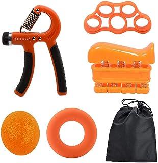 Blarysports Hand Grip Strengthen Set (5 Pack) Adjustable Hand Grip, Finger Exerciser, Finger Stretcher, Grip Ring and Stre...