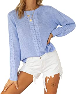Byinns Women's Crewneck Pullover Knits Sweater Loose fit Casual Solid Color Woven Hollow Jumper Tops