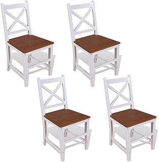Luckyfu Sillas de diseño moderno para muebles de cocina y comedor, sillas de comedor con color: marrón y blanco, sillas de comedor y cocina, sillas de comedor, 4 piezas, madera de caoba maciza de teca