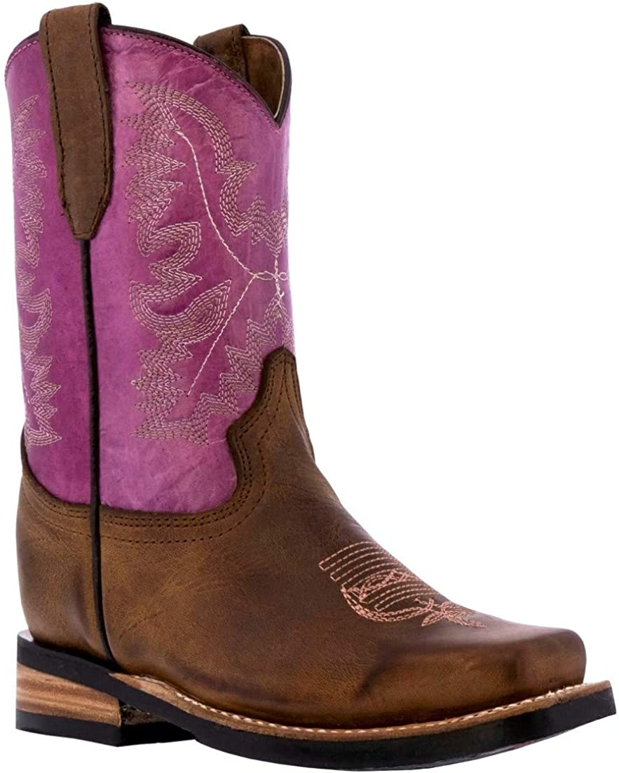 Kids Purple Western Cowboy Boots Finally popular brand Classic Square Toe Leather 55% OFF