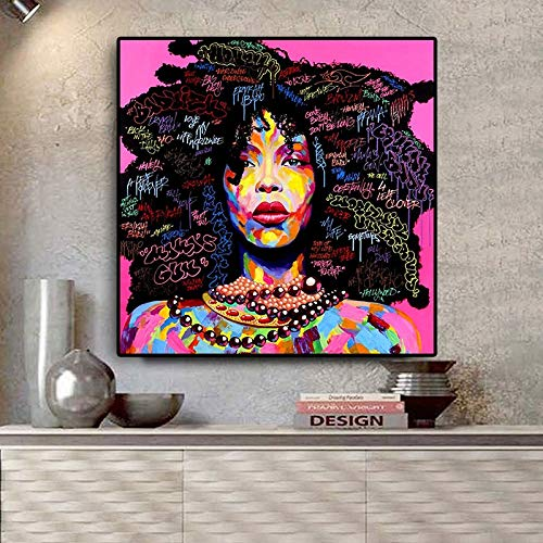 wZUN Retrato de Mujer afroamericana Abstracta Lienzo Pintura Carteles e Impresiones Cuadro de Arte de Pared de Sala de Estar 60x60 Sin Marco