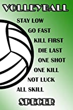 Volleyball Stay Low Go Fast Kill First Die Last One Shot One Kill Not Luck All Skill Specer: College Ruled   Composition B...