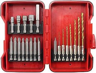 KANJJ-YU Power Lot de 21 forets à douille et forets hélicoïdaux avec 9 embouts, 7 têtes de perceuse électriques et tige he...