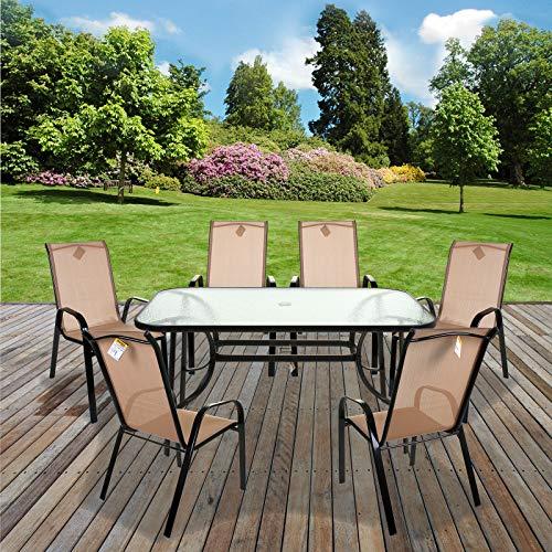 Marko Outdoor Cream Textoline Garden Furniture Set Outdoor Patio Round Rectangular Bistro Table Chairs Seating (7PC Rectangular Set)