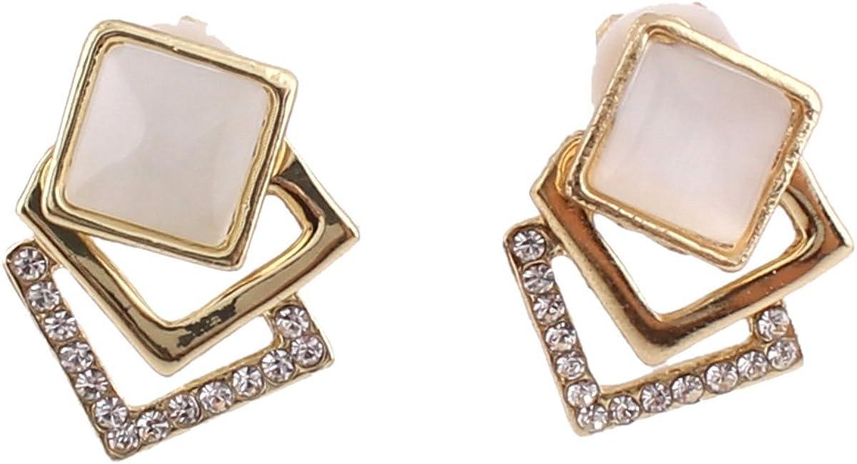 Grace Jun Women's Square Shape Opal Rhinestone Clip on Earrings Non Piercing Elegant Ear Clip