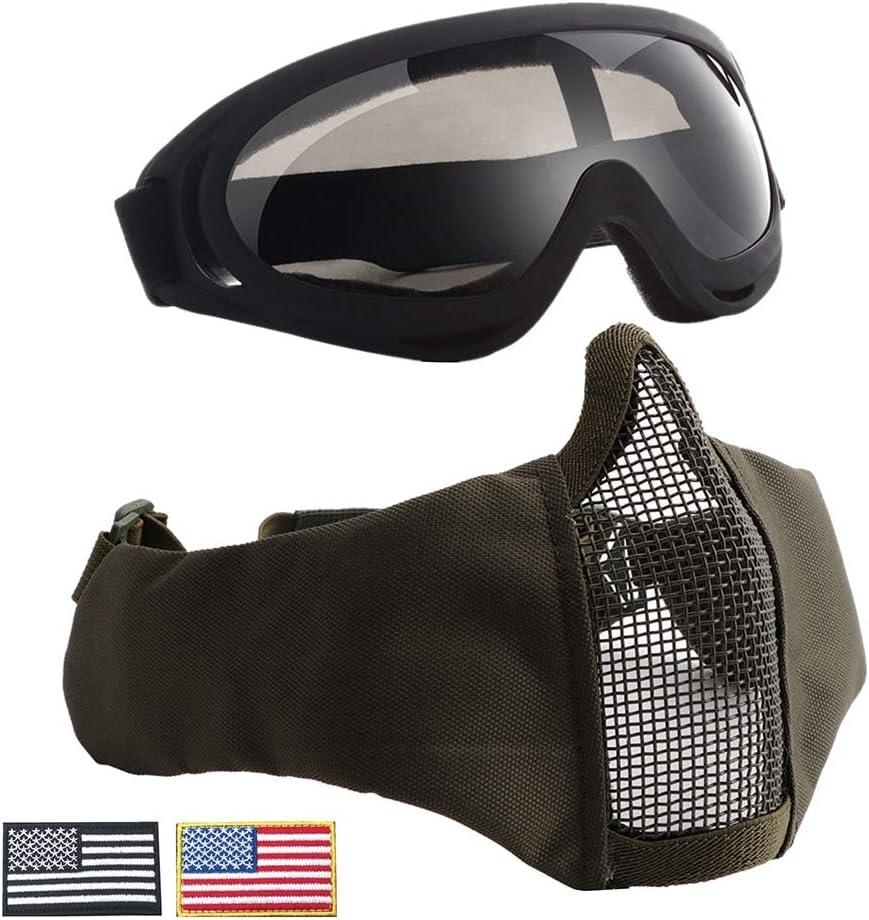 CARACHOME Mascara Airsoft con Función De Protección Auditiva, Mascara Proteccion con Gafas, Adecuada para El Traje De Cosplay De BB Gun Cosplay De Caza,Green