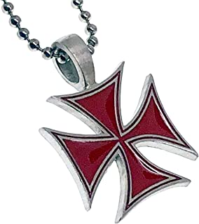 Red German Cross Biker Pewter Girls Boys Unisex Women Men Pendant Necklace Charm w Silver Ball Chain