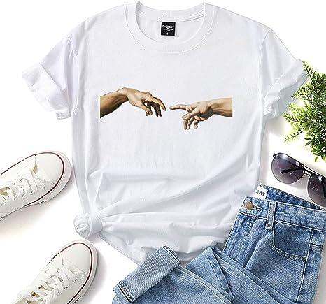 LXHcool Camisa del Arte de Miguel Ángel - Creación de Adán de la Camiseta de Manga Corta Undershirt la Camiseta de Las Mujeres (Color : White, Size : ...