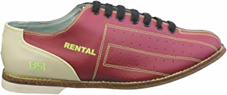 BSI Mens Leather Rental Bowling Shoes- Laces (17 M US, Red/Blue)