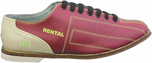 Bowlers Superior Inventory BSI Mens Leather Rental Bowling Shoes- Laces (17 M US, Red/Blue)