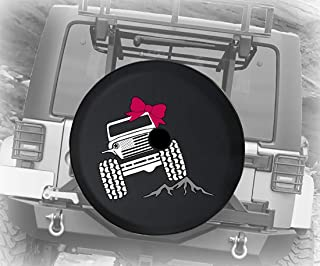 Lifted 4x4 Car Rough Mountain Terrain Driver with Pink Bow Outdoorsy Girl Free Spirit Adventurer JL Spare Tire Cover Backup Camera Hole (Fits: Jeep JL Accessories) Black Size 32 Inch with Grommets
