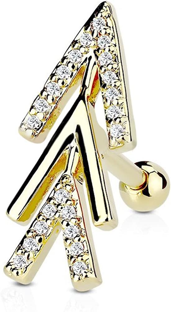 Covet Jewelry CZ Micro Paved Chevron Arrow Top 316L Surgical Steel Cartilage, Tragus Barbell Studs