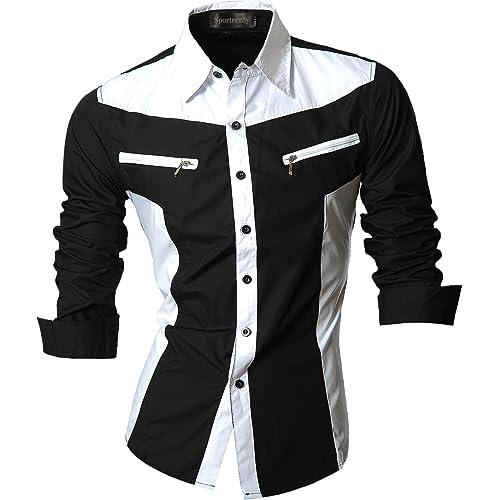 1d72fc3dfd1 Sportrendy Men Casual Slim Dragon Tattoo Long Sleeve Button Down Dress Shirt  JZS041
