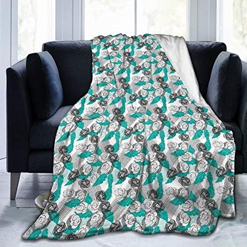 Manta suave y esponjosa, diseño moderno de flores de rosas con hojas de colores, súper suave, manta de forro polar, manta para dormitorio, cama, TV, manta de cama de 50 x 40 pulgadas