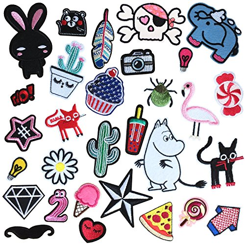 30PCS Iron On Patches Embroidered Appliques DIY Decoration or Repair,Sew On Patches for Clothing Backpacks Jeans Caps Shoes etc (B Style)
