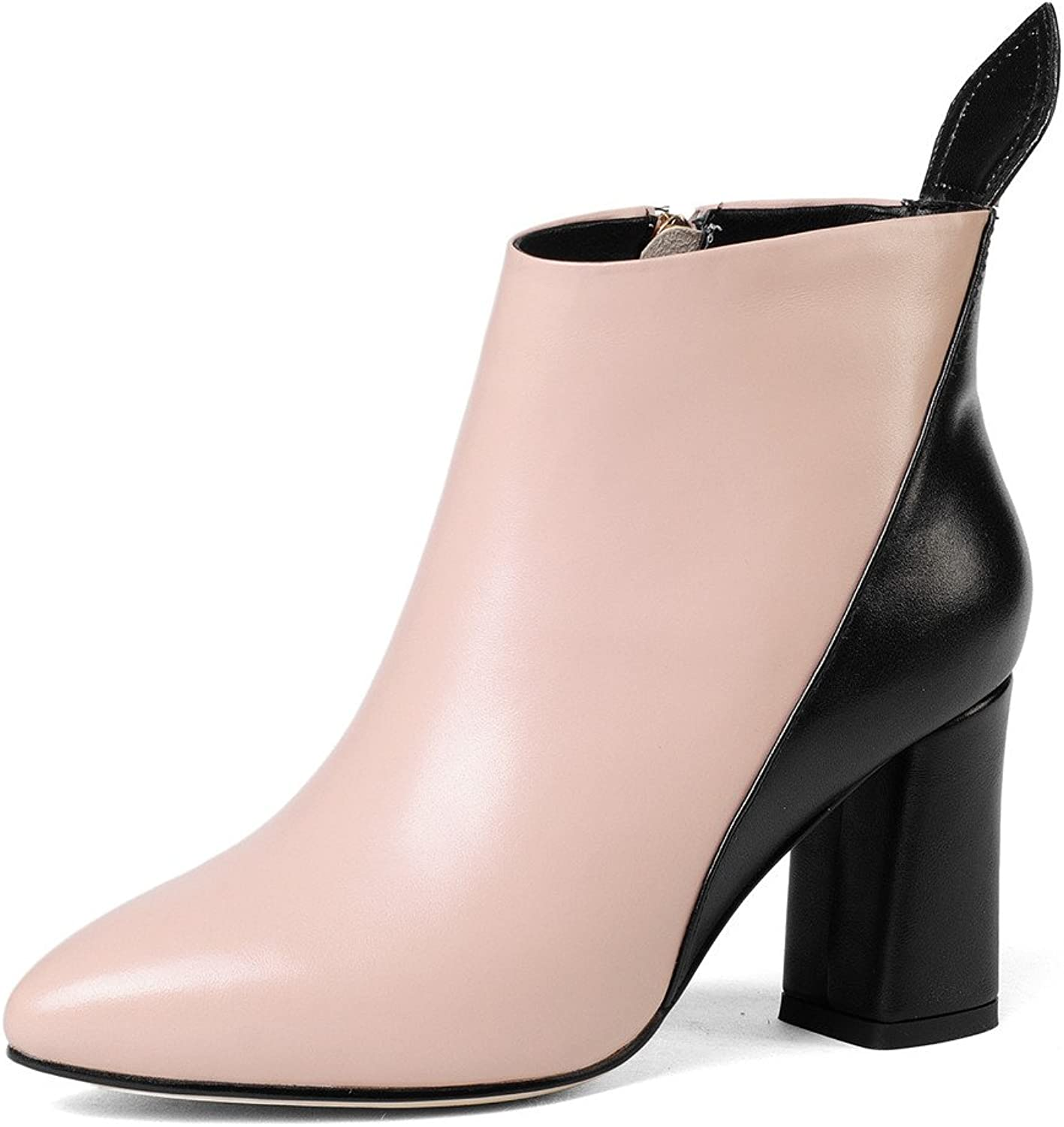 Nine Seven Genuine Leather Women's Pointed Toe Chunky Heel Two Tone Style Handmade Ankle Boots