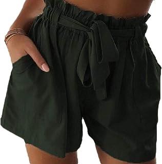 Jmwss QD Women's Short Elastic Waist Pant High Rise Leisure Baggy Shorts