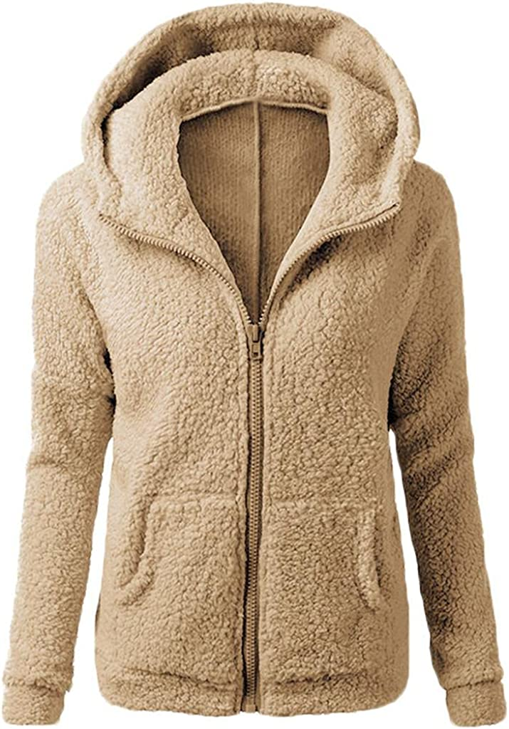 Women's Long Sleeve Hoodie Solid Fuzzy Fleece Zip Up Hooded Jacket Casual Slim Fit Outwear Tops with Pockets