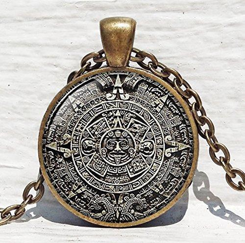 Maya-Kalender-Anhänger, Maya-Kalender-Schmuck, Azteken-Kalender Maya-Anhänger, braun-weißer Astronomie-Schmuck, Archäologie-Schmuck