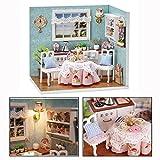 OFKPO Miniatur Puppenhaus mit LED Licht,DIY Mini Haus Geschenk für Kinder/Mädchen(Küche)