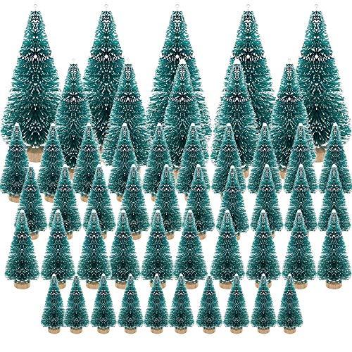 (3.5/4.5/6.5/8.5cm) 50Pcs Mini Weihnachtsbaum Tannenbaum Künstlicher Christbaum Tisch Tannenbaum Klein Miniatur Tanne mit Schnee-Effek Grün Weihnachtsdeko Weihnachten Tischdeko Basteln Schaufenster