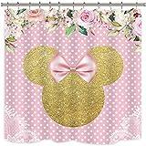 Riyidecor Duschvorhang mit Maus-Motiv, gepunktet, Pink/Prinzessin/Mädchen/Gold/Blumen, niedlich, Cartoon-Schleife, Stoff, wasserdicht, für die Badewanne geeignet, 182,9 x 182,9 cm, 12 Stück